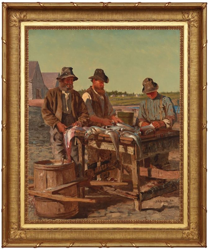 Captain Stanley with His Two Sons Cleaning their Catch of Cod Image