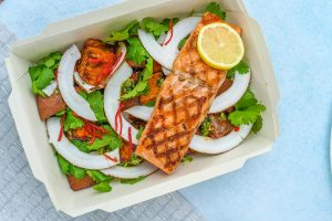 5 Healthy TakeOut Food Options During Quarantine? Healthy take out food near me? Try slow food, tamago kake gohan omelette or mac and cheese. Salmon with lemon and coconut